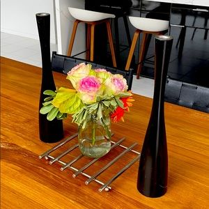 SET OF BLACK CANDLE HOLDERS